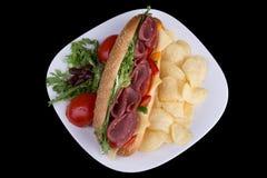 Salami sandwich Stock Photography