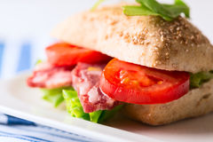 Salami sandwich with tomato and arugula on plate Royalty Free Stock Image