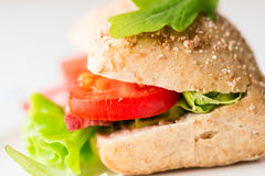 Salami sandwich with tomato and arugula Royalty Free Stock Image