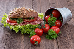 Salami Sandwich with Tomatoes Royalty Free Stock Images