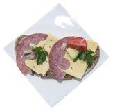 Salami Sandwich (on white) Royalty Free Stock Photos