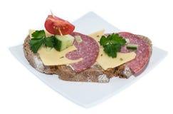 Salami Sandwich (on white) Stock Photos