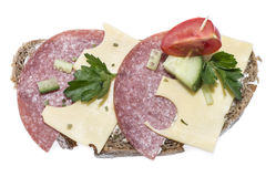 Salami Sandwich (on white) Stock Photography