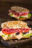 Salami-Sandwiche Stockfotografie