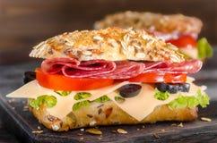 Salami-Sandwiche Lizenzfreies Stockbild