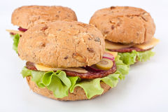 Salami Sandwiches Stock Images