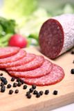 Salami sausage. Fresh and delicious salami sausage Royalty Free Stock Photography
