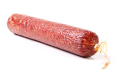 Salami sausage. Isolated on white stock photo