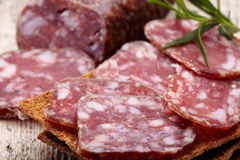 Salami sausage and bread Royalty Free Stock Photo