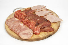 Salami sausage and ham slices Royalty Free Stock Photography