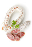 Salami sausage and parsley Stock Images