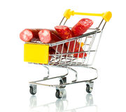 Salami sausage in the shopping cart Stock Photo
