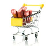 Salami sausage in the shopping cart Royalty Free Stock Photography