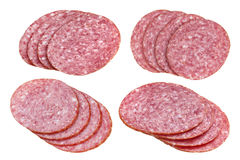 Salami sausage slices isolated on white background, with clipping path, cutout Royalty Free Stock Photography