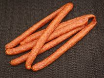 Salami Sausage. Some fresh salami sausage of pork meat Stock Image