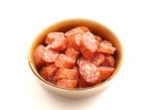 Salami Sausage. Some fresh salami sausage of pork meat Royalty Free Stock Photo