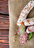 Salami sausage and spices Stock Image