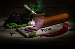 Salami. Sausage with spices, herbs and garlic Stock Photos