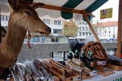 Salami and sausages Royalty Free Stock Photo