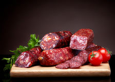 Salami sausages Stock Images