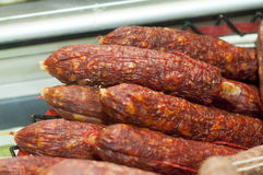 Salami. Sausages in pile on display Stock Images