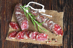 Salami sausages sliced Royalty Free Stock Photo
