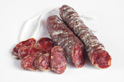 Salami sausages sliced Royalty Free Stock Images