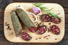 Salami sausages with spices Royalty Free Stock Image