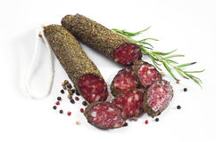 Salami sausages with spices Stock Photography