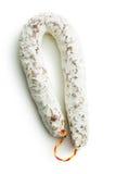 Salami savoureux avec le moule blanc Image stock