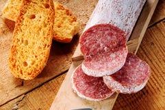 Salami. Seasoned salami sliced a Italian snack royalty free stock photography
