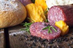 Salami sera chleb Zdjęcie Stock
