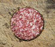 Salami slice. Royalty Free Stock Image