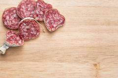 Salami slice food background Royalty Free Stock Photo