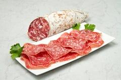 Salami sliced Stock Photography