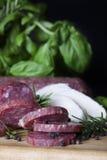 Salami Sliced with Mozzarella Stock Photos