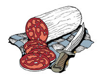 Salami slices. Traditional salami sliced with knife Royalty Free Stock Photo