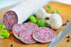 Salami slices Royalty Free Stock Photo