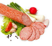 Salami slices Stock Photo