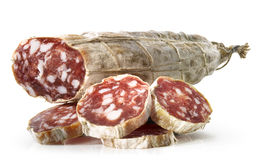 Salami with slices Royalty Free Stock Image