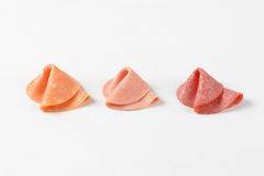 Salami slices Stock Photography
