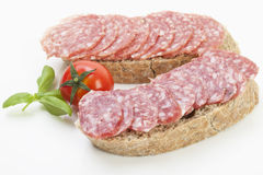 Salami slices on bread slices Royalty Free Stock Images