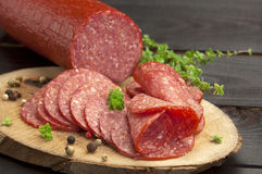 Salami slices(close up) Royalty Free Stock Photo