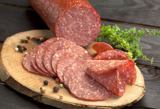 Salami slices Royalty Free Stock Photography
