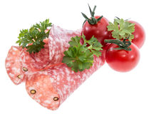 Salami slices isolated on white Royalty Free Stock Photography