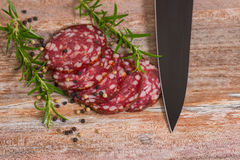 Salami slices with pepper and rosemary Stock Photos