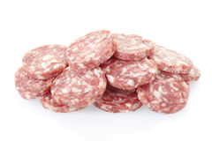 Salami slices pile Stock Photos