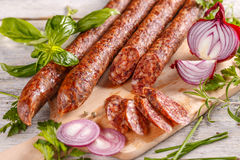 Salami smoked sausage Royalty Free Stock Images