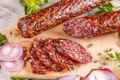Salami smoked sausage Royalty Free Stock Photography