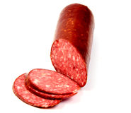 Salami smoked sausage slices isolated Stock Image